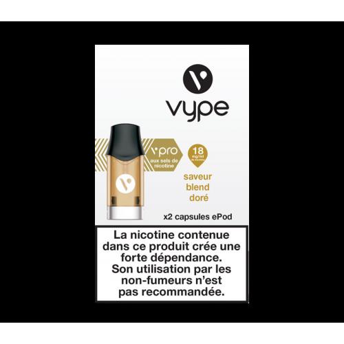 Capsules ePod Saveur Blend doré sel de nicotine - VYPE